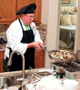 Executive Chef Scott McGlinchey from the Eureka Resort making an Exotic Mushroom Pasta. Submitted Photo.