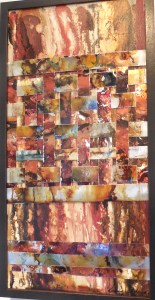Dianna Schwierzke uses painted metallic strips in this fascinating abstract.