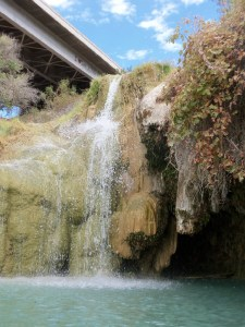 Waterfall splashing into the Little Jamaica swimming hole, near Littlefield, AZ - September 2014