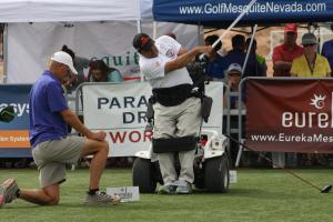 Paramobile Champion Anthony Netto won the division in his original invention, 'Standup  and play' mobile chair. Netto won with a drive of 289 yards. Photo by Lou Martin