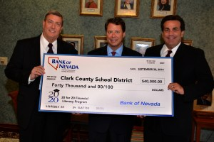 Bruce Hendricks, CEO, Bank of Nevada, Pat Skorkowsky, Clark County School District Superintendent, and John Guedry, President & COO, Bank of Nevada.