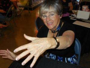 Jean Watkins tries new nail color