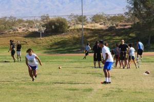 Lady Bulldog flag football hopefuls competed in 40 yard speed drills Saturday morning in the Dawg Pound. Photo by Lou Martin