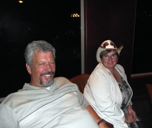 "Larry and Eva LeMieux relax at the cast party after the last showing of Virgin Valley Theatre Group's Musical ""Spitfire Grill"" in May of 2011.  LeMieux directed this musical and several others for the VVTG."