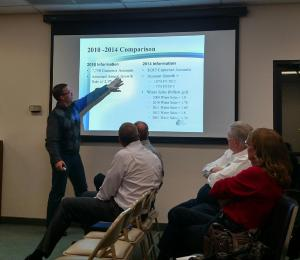 Mike Chandler of Bowen, Collins & Associates presents a summarized view of the past year for the water district's rate increase project. Photo by Stephanie Frehner.