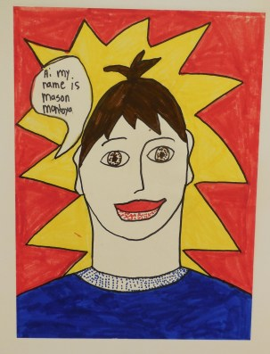Self portraits by artists of each school group help define the person.  Here is Mason Montoya. Submitted photo.