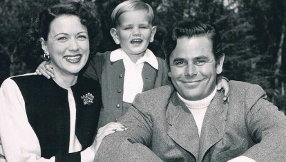Eleanor Powell and Glenn Ford with son Peter Ford around 1950
