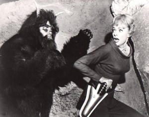 Publicity still from Lost in Space Episode One of Our Dogs is Missing, although Lockhart's character is never actually chased by the alien - one of many to appear weekly