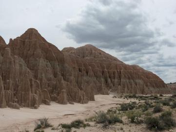 Moon Canyons area under threatening sky at Cathedral Gorge State Park, NV - May 2015