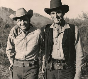 Audie Murphy and Michael Dante on the set of Arizona Raiders - Photo provided by Michael Dante
