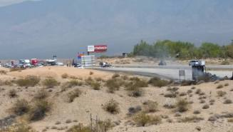 From this photo, you can see how long it took for the semi truck, bottom right, to finally come to rest on the side of southbound I-15, where it was then engulfed in flames. The smashed car can be found in the middle of the photo.  Photo by Wes Bo.