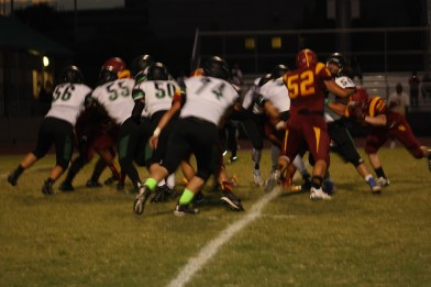 Bulldog offensive line has opened huge holes for Bulldog Running backs the past three games. Photo by Lou Martin