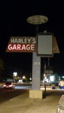 The Harley's Garage sign lit up for the last time last Thursday, Sep. 17. The building and sign has been an iconic part of Mesquite's downtown area for more than 60 years. Photo by Stephanie Frehner.