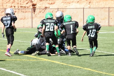 The team fighting for a fumble recovery. Submitted photo.
