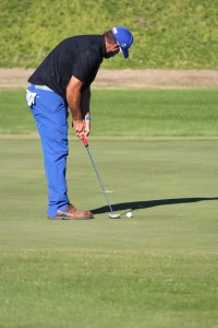 Tom Whitney lines up his putt on CasaBlanca Golf Course's 17 hole in the final day of play in the 2015 Nevada Open. Whitney won the tournament by two strokes, shooting a three-day total of 202 and beating 208 other golfers. Photo by Barbara Ellestad.