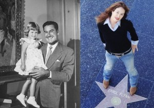 Split image of Errol Flynn and daughter Rory in 1950. And Rory, on her  father_s Hollywood star.  Photos provided by Rory Flynn