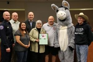 The Mesquite Police Department and Peaceful Valley Donkey Rescue were honored at the Jan. 12 City Council meeting for their winning participation in December's Parade of Lights that helped gather food for local charities. Photo by Barbara Ellestad.
