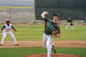 Bulldog pitcher Cade Anderson throws a complete game for the win Friday against Valley High School. Photo by Lou Martin