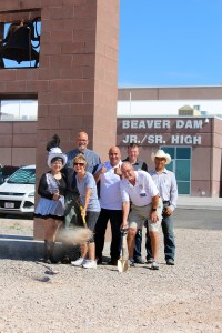 Mesquite Rotary Club members break ground on the Beaver Dam Jr./Sr. High School Beautification Project on May 31.  Front row from left: Mesquite Show Girl Jean Watkins, Interact Club leader and Rotary Secretary Linda Gault, Rotary Club District 5300 Assistant Governor Jake Noll.  Back row from left:  Rotary Club member and LUSD Business Manager Kevin Boyer, Mesquite Rotary Club President Keith Burkhalter, Kokopelli owner Shane Hughes and project foreman Juan Soto. Photo by Teri Nehrenz