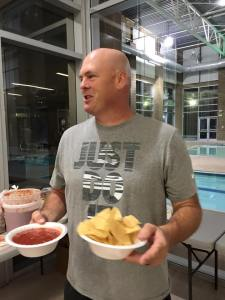 Police Chief Troy Tanner took a night out as well, spending it with the graduates participating in the annual Grad Night Out. It didn't take long for him to dive in to some chips and salsa, either. Photo courtesy of MPD.