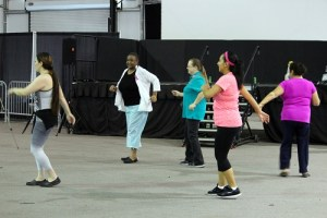 Mesquite Gaming Health and Wellness Fair held at the Casablanca Event Tent on Friday, Sept. 16 allowed visitors to sample a bit of the community exercise programs available for cardiac health.  Many visiting ladies really enjoyed the Zumba class. Photo by Teri Nehrenz