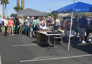 There was often a long line to free food at the first Honoring the Ageless event in the MLN parking lot on Oct. 7. Over 300 people are estimated to have participated in the event. Photo by Stephanie Clark.