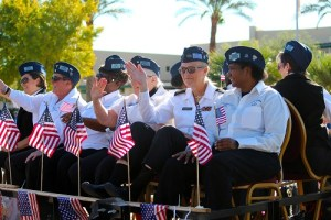 A group of women veterans from Las Vegas joined the rest of Mesquite in honoring those who served in the 2016 Mesquite Veteran's Day Parade. Photo by Teri Nehrenz