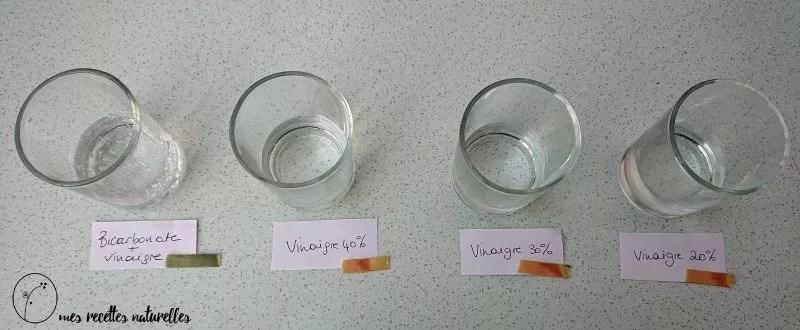 test pH vinaigre et bicarbonate