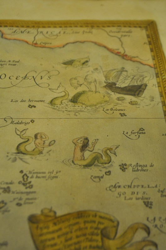 Mermaid and Whale Detail From Old Nautical Map in BSH Hamburg