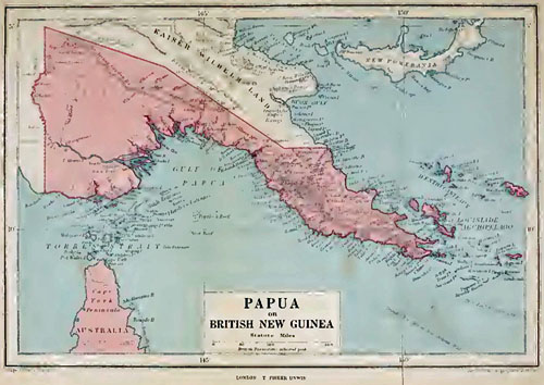 1912 Map of New Guinea - Castaway Message in a Bottle Story Setting