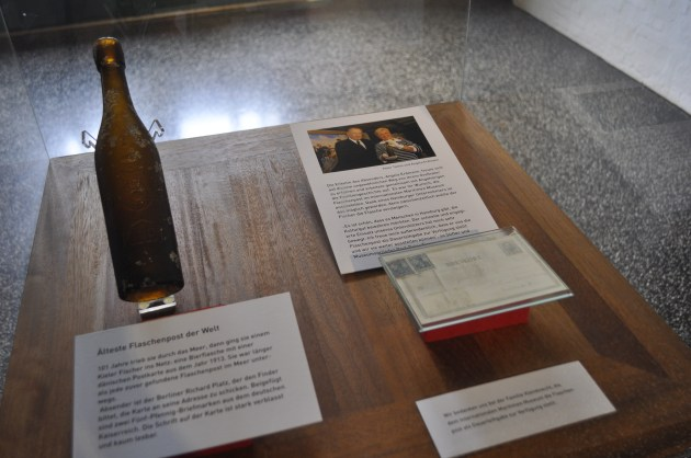 101 year old message in a bottle: Display inside the International Maritimes Museum Hamburg.