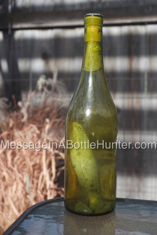 Close up of German Message in a Bottle