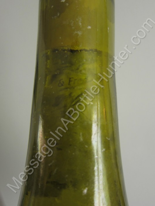 Neck of German Message in a Bottle