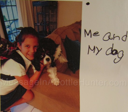 Lily's Message in a Bottle Solved - Lily Mason with her dog