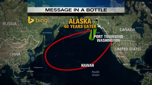 Route of 40 year old message in a bottle in Pacific