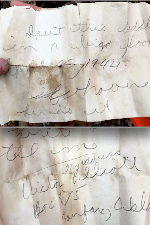 Victor Elliot's 73 year old message in a bottle.