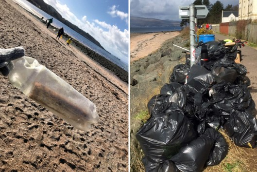 Inverkip Primary Students find a message in a bottle during beach clean