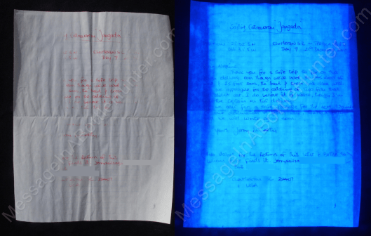 Jerry McCarthy the Sailor's Message in a Bottle side by side under normal light and UV black light.