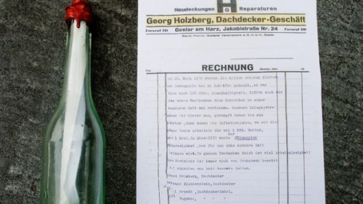 The Best Messages in Bottles of 2018 - Willi Brandt and Peter Brandt 88 year old message in a bottle