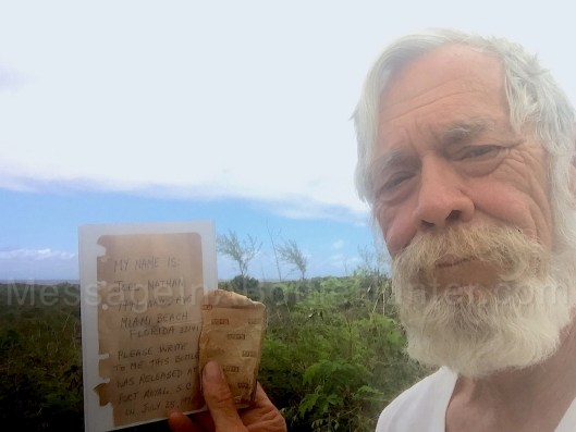 My dad with the 49 year old message in a bottle he found.