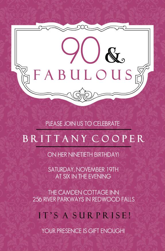 90th Birthday Invitation Wording