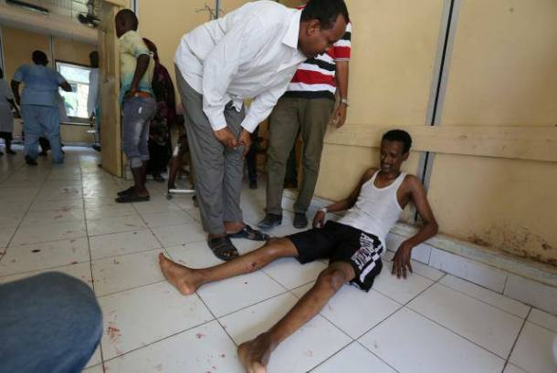 A Somali journalists wounded in a secondary blast at the hotel (Credit: Abdi Guled / Facebook)