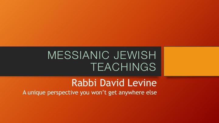 Messianic Jewish Teachings