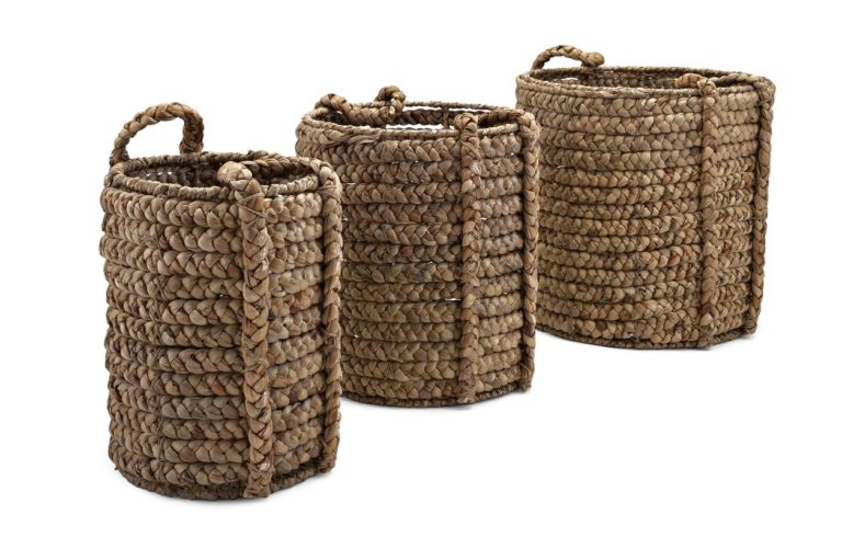 Large Chunky Woven Floor Baskets | 3 Piece Set