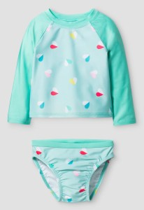Baby Girls' Heart Print Rash Guard Set