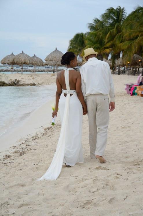 Walking along the beach in Aruba on my wedding day