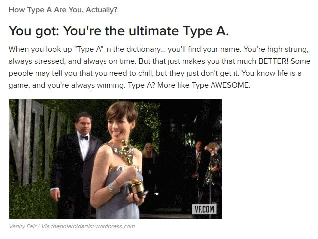 Type A personality test results