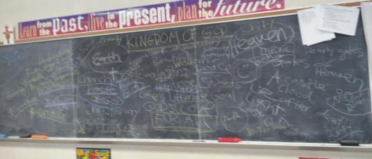 """Kingdom of God Period 6 Classroom Discussion"" photo by Julia Walsh, FSPA"
