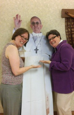 Me, Pope Francis (cut-out), and Sister Laura
