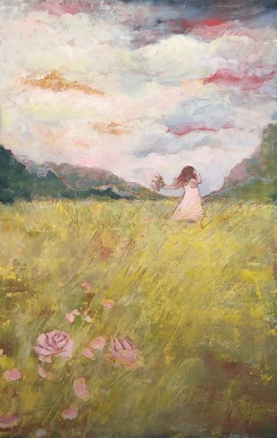 painting-girl-fsky-ield-flowers